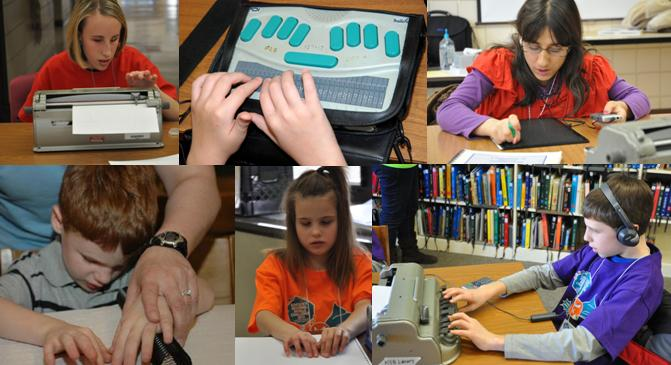 Students reading Braille from multiple devices.